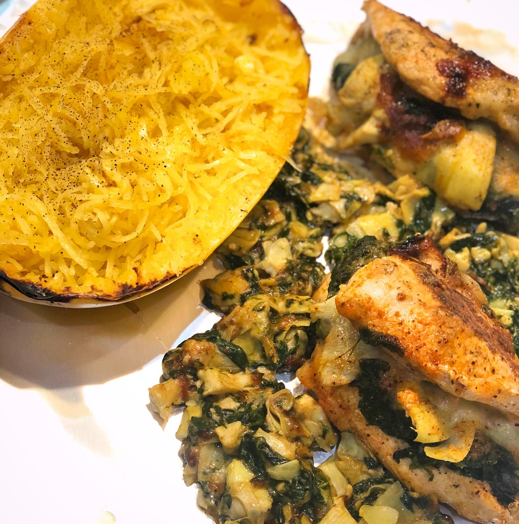 spinach artichoke drip stuffed chicken breast with spaghetti squash