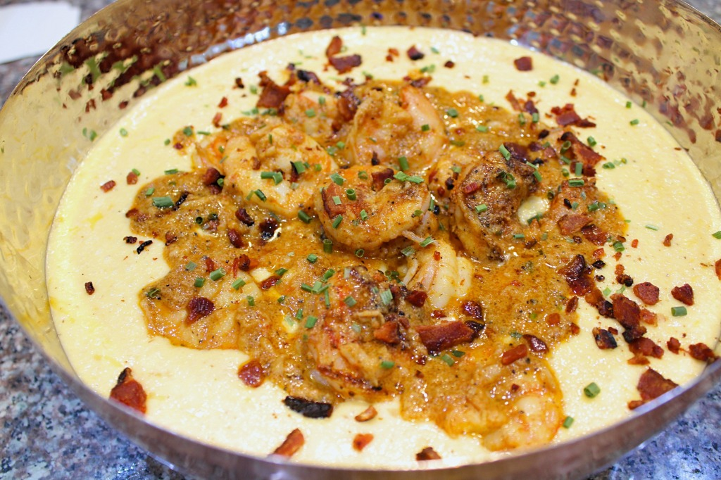 Cajan shrimp and cheesy cauliflower grits